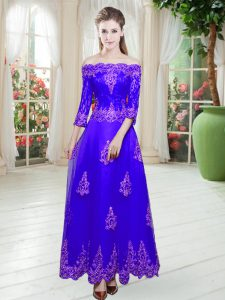 Cute Tulle Off The Shoulder 3 4 Length Sleeve Lace Up Lace Prom Gown in Purple