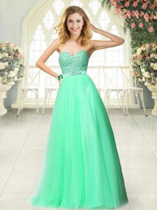 Apple Green A-line Tulle Sweetheart Sleeveless Beading Floor Length Zipper Homecoming Dress