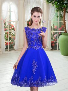 Chic Royal Blue Scoop Lace Up Beading and Appliques Prom Party Dress Sleeveless