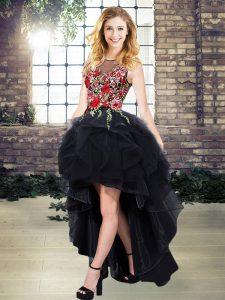 Top Selling Scoop Sleeveless Organza Homecoming Dress Embroidery Lace Up