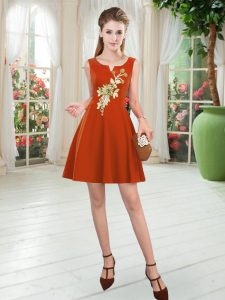 Artistic Rust Red Satin Zipper Scoop Sleeveless Mini Length Prom Party Dress Appliques