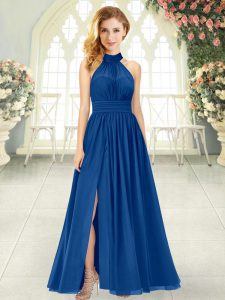 Ankle Length Blue Homecoming Dress Chiffon Sleeveless Ruching