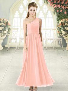 Fabulous Pink Chiffon Side Zipper One Shoulder Sleeveless Ankle Length Prom Evening Gown Lace