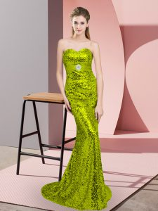 Edgy Apple Green Lace Up Sweetheart Belt Homecoming Dress Sequined Sleeveless Sweep Train