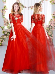 Excellent Red Empire Tulle Scoop Short Sleeves Appliques Floor Length Zipper Bridesmaid Gown