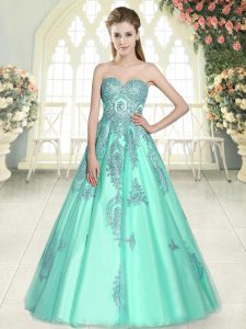 Floor Length Lace Up Prom Evening Gown Apple Green for Prom and Party with Appliques