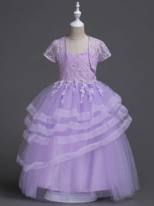 Exquisite Lavender Sleeveless Floor Length Appliques and Ruffled Layers Zipper Flower Girl Dresses for Less