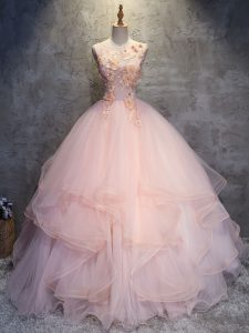 Pretty Ball Gowns Ball Gown Prom Dress Pink Scoop Tulle Sleeveless Floor Length Lace Up