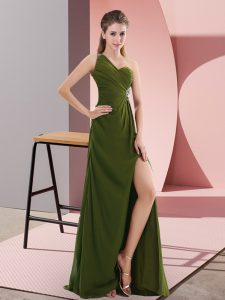 Delicate Chiffon One Shoulder Sleeveless Backless Beading in Olive Green