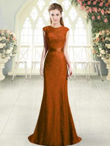 Suitable Brown Backless Scoop Lace Dress for Prom Cap Sleeves Sweep Train