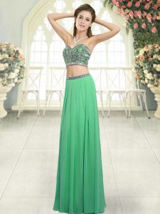 Exquisite Green Two Pieces Sweetheart Sleeveless Chiffon Floor Length Backless Beading Homecoming Dress