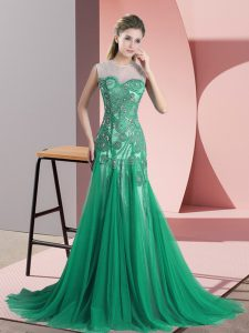 Backless Prom Dresses Green for Prom and Party and Military Ball with Beading and Appliques Sweep Train