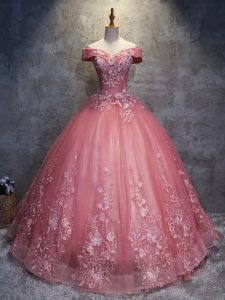 Elegant Floor Length Watermelon Red Ball Gown Prom Dress Off The Shoulder Sleeveless Lace Up