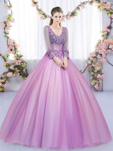Admirable Floor Length Ball Gowns Long Sleeves Lilac Quinceanera Gowns Lace Up