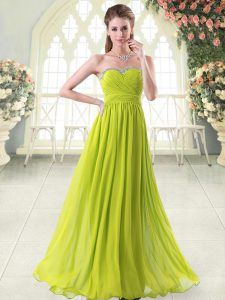 Yellow Green Sleeveless Beading Floor Length Prom Gown
