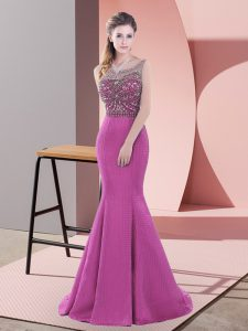 Free and Easy Lace Up Formal Evening Gowns Purple for Prom and Party and Military Ball with Beading Sweep Train