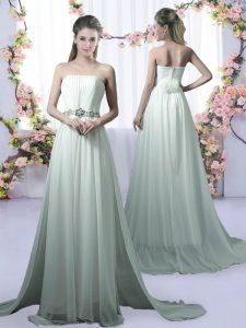 Designer Empire Sleeveless Apple Green Court Dresses for Sweet 16 Brush Train