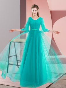 Charming Long Sleeves Tulle Floor Length Lace Up Homecoming Dress in Turquoise with Beading