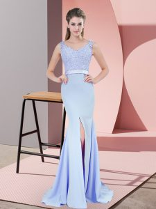 Attractive Baby Blue V-neck Neckline Beading and Lace Prom Dress Sleeveless Zipper