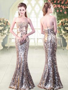Silver Strapless Neckline Beading and Sequins and Bowknot Womens Evening Dresses Sleeveless Zipper