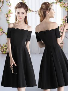 Knee Length Zipper Bridesmaid Dress Black for Prom and Party and Wedding Party with Ruching