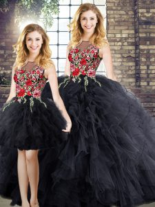 Floor Length Ball Gowns Sleeveless Black Quinceanera Gowns Zipper