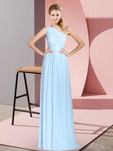 Classical Blue Sleeveless Ruching Floor Length Prom Dress