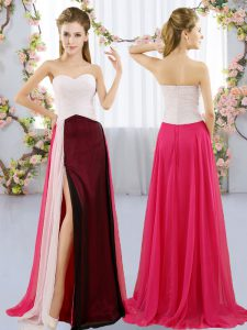 Sleeveless Floor Length Ruching Zipper Bridesmaid Dresses with Multi-color