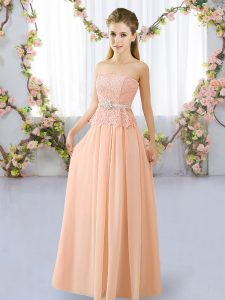Peach Sleeveless Floor Length Lace and Belt Lace Up Damas Dress