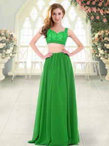 Sleeveless Chiffon Floor Length Zipper Prom Dress in Green with Beading and Lace