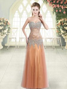 Nice Floor Length Column/Sheath Sleeveless Orange Prom Evening Gown Zipper