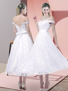 Fashionable Tea Length Criss Cross Homecoming Dress White for Prom and Party and Wedding Party with Belt