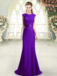 Perfect Dark Purple Prom Dress Prom and Party with Beading Scoop Sleeveless Sweep Train Backless