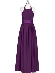 Extravagant Sleeveless Floor Length Ruching Zipper Prom Dresses with Eggplant Purple
