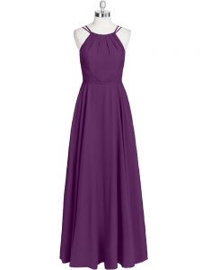 Straps Sleeveless Zipper Dress for Prom Eggplant Purple Chiffon