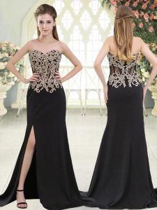 Noble Beading and Appliques Evening Wear Black Zipper Sleeveless Sweep Train