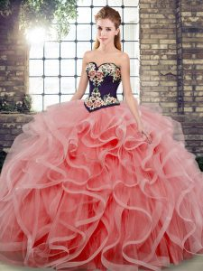 High Quality Sleeveless Sweep Train Lace Up Embroidery and Ruffles 15 Quinceanera Dress