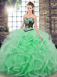 Charming Sweetheart Sleeveless Quince Ball Gowns Sweep Train Embroidery and Ruffles Apple Green Tulle