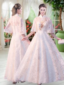 Decent Lace High-neck Half Sleeves Zipper Appliques Prom Evening Gown in White