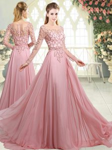Amazing Pink Zipper Prom Evening Gown Beading Long Sleeves Sweep Train