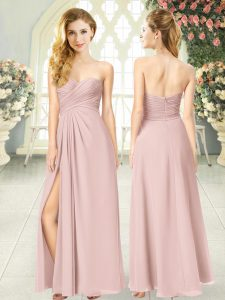 Clearance Pink Chiffon Zipper Sweetheart Sleeveless Floor Length Homecoming Dress Ruching