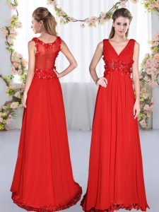 Luxurious Chiffon V-neck Sleeveless Side Zipper Beading and Appliques Quinceanera Dama Dress in Red