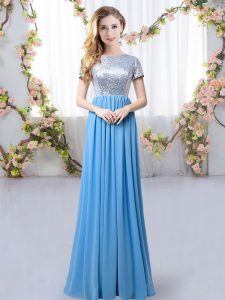 Custom Design Short Sleeves Zipper Floor Length Sequins Bridesmaid Dress