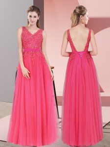 Tulle Sleeveless Floor Length Prom Gown and Lace