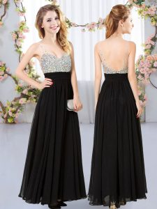 Floor Length Black Bridesmaids Dress V-neck Sleeveless Backless