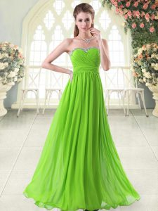 Superior Sleeveless Zipper Floor Length Beading and Ruching Prom Dress