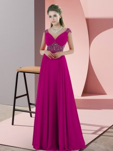 Fuchsia Backless V-neck Beading Homecoming Dress Chiffon Sleeveless