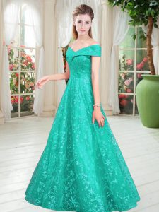 Fantastic Turquoise Sleeveless Floor Length Beading Lace Up Prom Gown