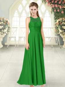 Fine Green Sleeveless Lace Floor Length Homecoming Dress