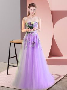Lavender Sweetheart Neckline Appliques Sleeveless Lace Up